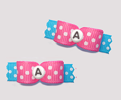 "#T9265 - 3/8"" Dog Bow - Fun Dots, Pink/Blue, Custom Letter"