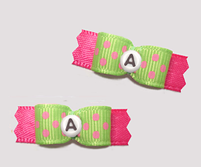 "#T9266 - 3/8"" Dog Bow - Fun Dots, Green/Pink, Custom Letter"