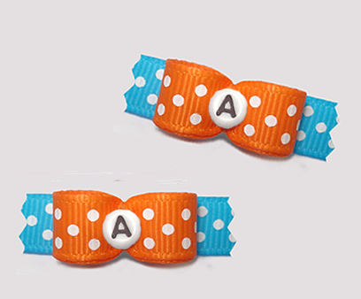 "#T9267 - 3/8"" Dog Bow - Fun Dots, Orange/Blue, Custom Letter"