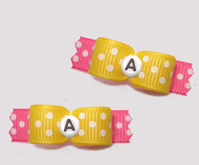 "#T9270 - 3/8"" Dog Bow - Fun Dots, Yellow/Pink, Custom Letter"