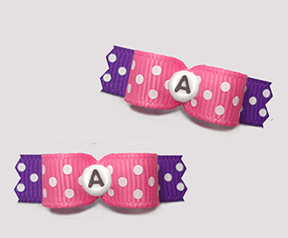 "#T9271 - 3/8"" Dog Bow - Fun Dots, Pink/Purple, Custom Letter"
