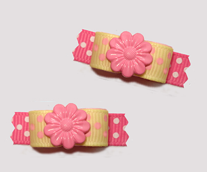 "#T9275 - 3/8"" Dog Bow - Flower Power, Baby Yellow/Pink w/Dots"