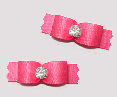 "#T9283 - 3/8"" Dog Bow - Satin, Perfect Pink with Rhinestone"