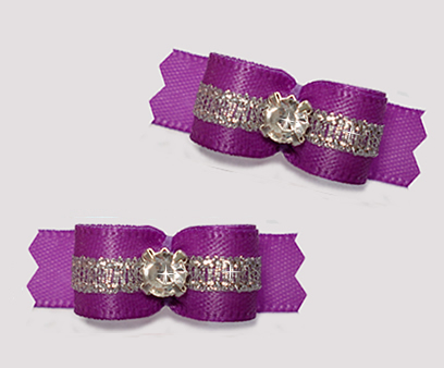 "#T9287 - 3/8"" Dog Bow - Orchid Purple/Sparkly Silver, Rhinestone"