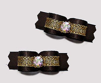 "#T9288 - 3/8"" Dog Bow - Classic Black/Sparkly Gold, Rhinestone"