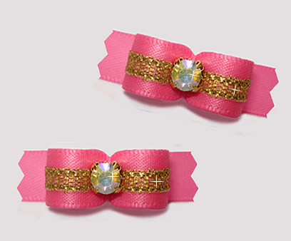 "#T9289 - 3/8"" Dog Bow - Perfect Pink/Sparkly Gold, Rhinestone"