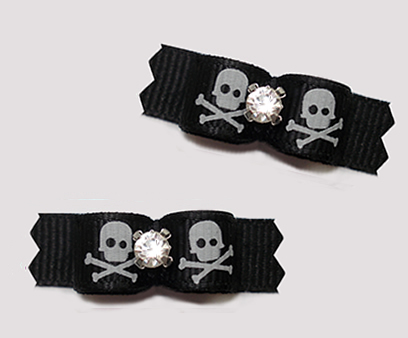 "#T9291 - 3/8"" Dog Bow - Spooky Skulls on Black, Rhinestone"