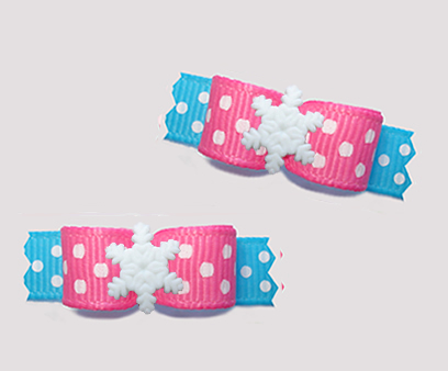 "#T9296 - 3/8"" Dog Bow - Let It Snow! Pink/Blue, Snowflake"