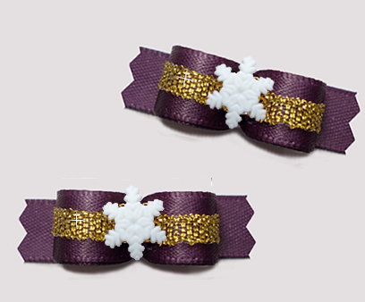 "#T9301 - 3/8"" Dog Bow - Gorgeous Amethyst/Gold, Tiny Snowflake"