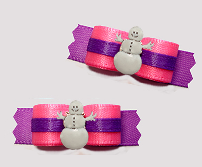 "#T9302 - 3/8"" Dog Bow - Perfect Pink/Orchid Purple, Snowman"
