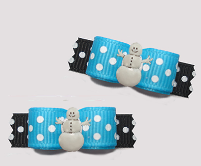 "#T9307 - 3/8"" Dog Bow - Happy Snowman, Sprinkle Dots, Blue/Black"
