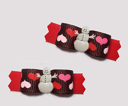 "#T9312 - 3/8"" Dog Bow - Winter Love, Sweet Hearts, Snowman"