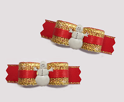 "#T9314 - 3/8"" Dog Bow - Spectacular Sparkly Gold & Red, Snowman"