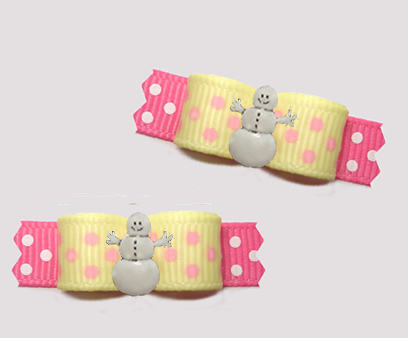 "#T9317- 3/8"" Dog Bow - Happy Snowman, Sprinkle Dots, Yellow/Pink"