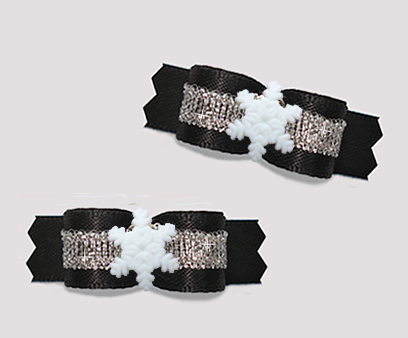 "#T9322 - 3/8"" Dog Bow - Classic Black/Silver, Tiny Snowflake"