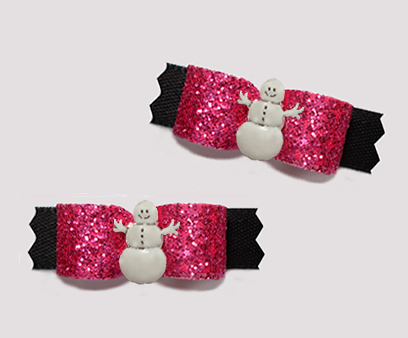 "#T9323- 3/8"" Dog Bow - Gorgeous Pink Glitter/Black, Cute Snowman"