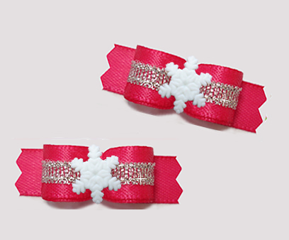 "#T9326 - 3/8"" Dog Bow - Hot Pink/Silver, Tiny Snowflake"