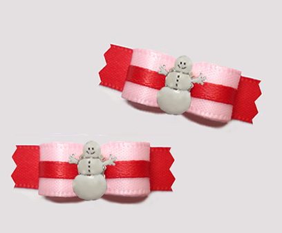 "#T9328 - 3/8"" Dog Bow - Sweet Baby Pink/Red, Snowman"