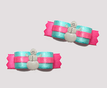 "#T9332 - 3/8"" Dog Bow - Aqua-Teal/Hot Pink, Happy Snowman"