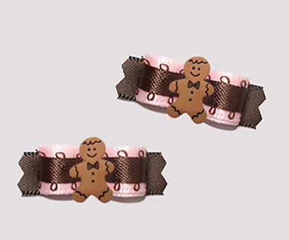 "#T9333- 3/8"" Dog Bow- Soft Pink/Chocolate Brown, Gingerbread Man"