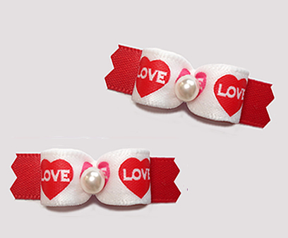 "#T9335 - 3/8"" Dog Bow - Love Hearts, Classic Red"