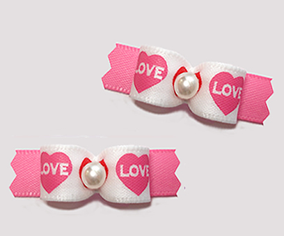 "#T9336 - 3/8"" Dog Bow - Love Hearts, Pretty Pink"
