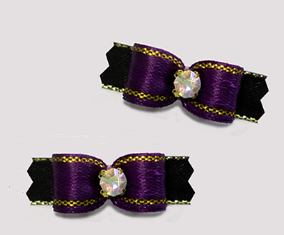 "#T9347 - 3/8"" Dog Bow- Regal Purple/Black w/Gold, Rhinestone"