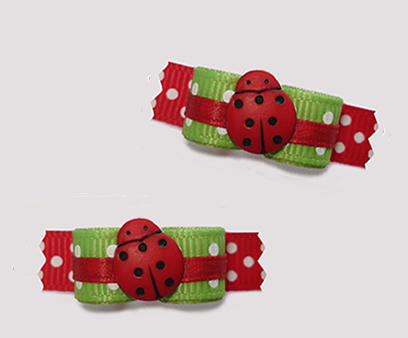 "#T9349 - 3/8"" Dog Bow - Cute Little Ladybug Dots, Red with Green"