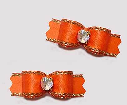 "#T9350 - 3/8"" Dog Bow - Gorgeous Orange w/ Gold Edge, Rhinestone"