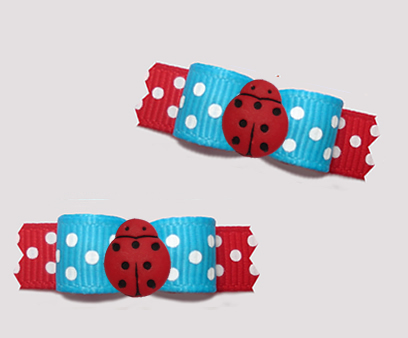 "#T9352 - 3/8"" Dog Bow - Adorable Little Ladybug Dots, Blue/Red"