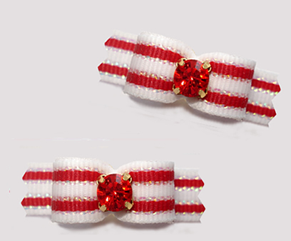 "#T9353 - 3/8"" Dog Bow - Red/White Stripes, Ruby Red Rhinestone"