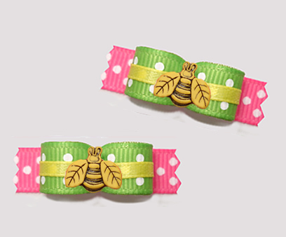 "#T9355 - 3/8"" Dog Bow - Cute Little Buzzy Bee, Green/Pink"