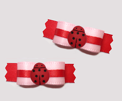 "#T9356 - 3/8"" Dog Bow - Adorable Tiny Ladybug, Pink & Red"
