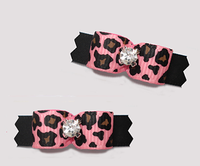 "#T9357- 3/8"" Dog Bow- Pink Leopard Print on Classic Black, Bling"