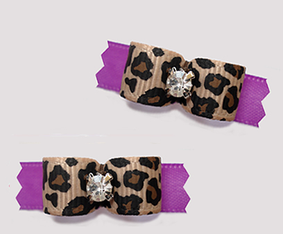"#T9358 - 3/8"" Dog Bow - Leopard Print on Orchid Purple, Bling"