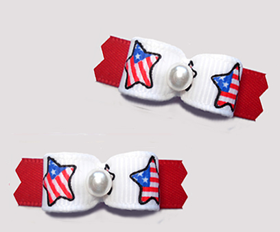 "#T9362 - 3/8"" Dog Bow - Patriotic Stars, Red/White & Blue"