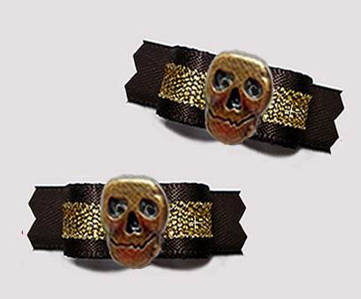 "#T9365 - 3/8"" Dog Bow - Midnight Black/Gold with Bronze Skull"