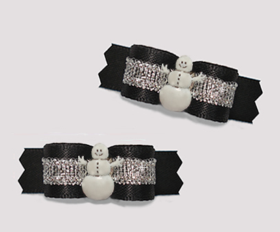 "#T9366 - 3/8"" Dog Bow - Classic Black/Silver with Happy Snowman"