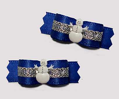 "#T9367 - 3/8"" Dog Bow - Regal Blue/Silver with Happy Snowman"