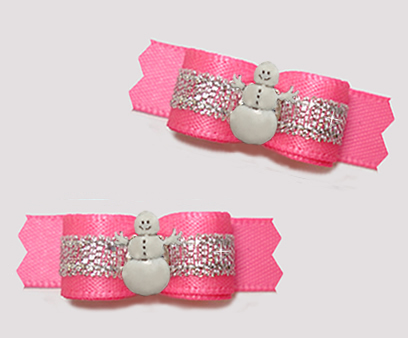 "#T9368 - 3/8"" Dog Bow - Perfect Pink/Silver with Happy Snowman"