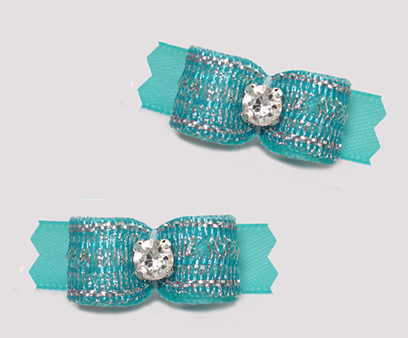 "#T9372 - 3/8"" Dog Bow - Shimmer & Shine, Awesome Aqua"