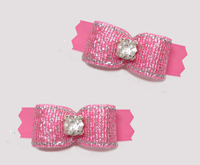 "#T9373 - 3/8"" Dog Bow - Shimmer & Shine, Perfect Pink"