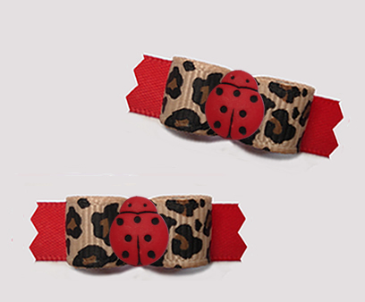 "#T9375 - 3/8"" Dog Bow - Little Lady Bug in the Wild, Leopard/Red"