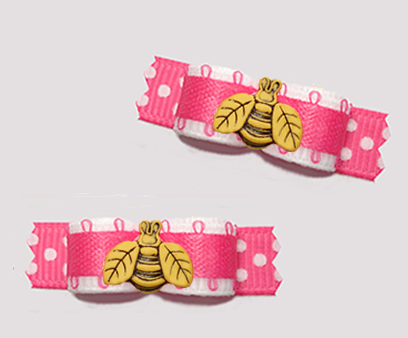 "#T9383 - 3/8"" Dog Bow - Cute White/Hot Pink, Little Busy Bee"