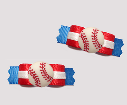 "#T9386 - 3/8"" Dog Bow - Sporty Baseball, Red/Blue w/White Accent"