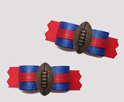 "#T9387 - 3/8"" Dog Bow - Team Spirit, Blue/Red, Football"