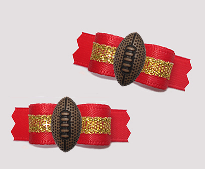 "#T9393 - 3/8"" Dog Bow - Team Spirit, Red/Gold, Football"