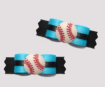 "#T9394 - 3/8"" Dog Bow - Sporty Baseball, Blue/Black"