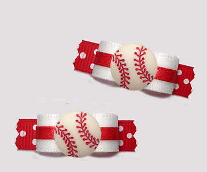 "#T9398 - 3/8"" Dog Bow - Sporty Baseball, White/Red"