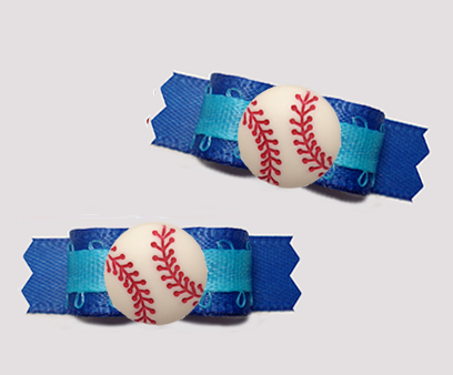 "#T9403 - 3/8"" Dog Bow - Sporty Baseball, Shades of Blue"
